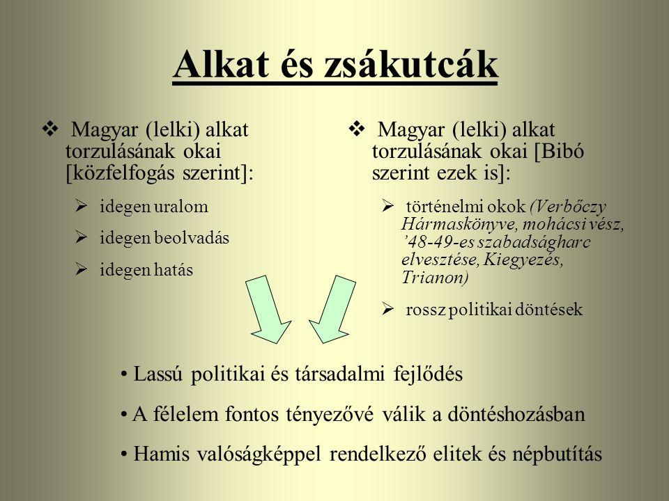 Alkat és zsákutcák Magyar (lelki) alkat torzulásának okai [közfelfogás szerint]: idegen uralom.